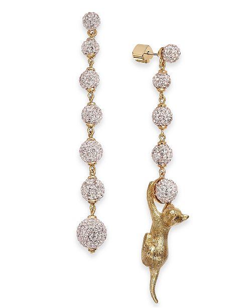 kate spade new york Gold-Tone Pavé Ball & Leopard Mismatch Linear Drop Earrings