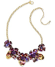 """Kate Spade New York Gold-Tone Crystal Flower Collar Necklace, 16"""" + 1"""" extender"""