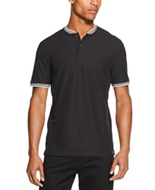 DKNY Men's Performance Tipped Baseball-Collar Henley