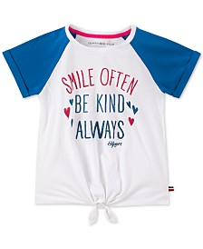 Tommy Hilfiger Big Girls Smile-Print Cotton Tie-Front T-Shirt