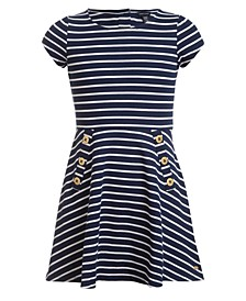 Big Girls Striped Piqué Dress