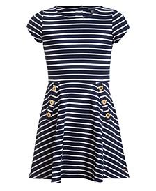 Big Girls Striped Piqué Dress
