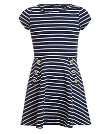 Tommy Hilfiger Big Girls Striped Piqué Dress