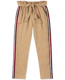 Tommy Hilfiger Big Girls Side-Stripe Belted Twill Pants