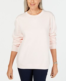 Karen Scott Petite Crewneck Fleece Sweatshirt, Created for Macy's