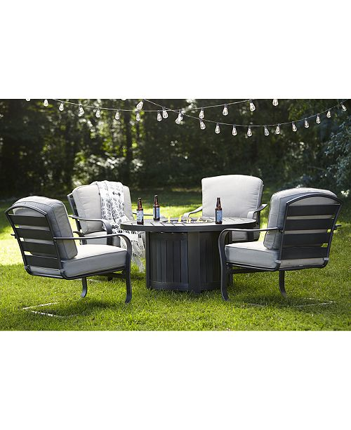 Furniture Marlough II Outdoor Fire Pit and Chat Collection, with Sunbrella® Cushions, Created for Macy's