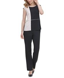 Calvin Klein Cap-Sleeve Colorblocked Top
