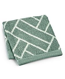 "Block Geo Cotton 13"" x 13"" Wash Towel, Created for Macy's"