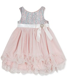 Rare Editions Baby Girls Brocade Glitter Dress