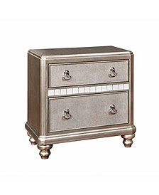 Bling Game 2-Drawer with Stacked Bun Feet Nightstand