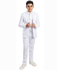 Boy's 5-Piece Shirt, Tie, Jacket, Vest and Pants Solid Suit Set