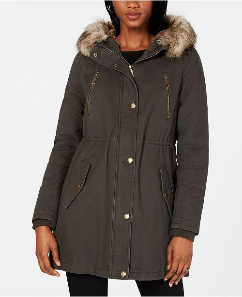 BCBGeneration Hooded Faux-Fur-Trim Anorak