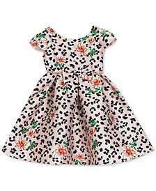Rare Editions Baby Girls Leopard Floral Mikado Dress