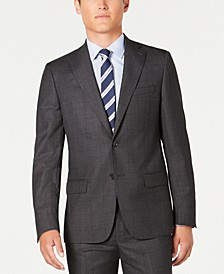 Men's Modern-Fit Stretch Charcoal/Navy Windowpane Suit Separate Jacket