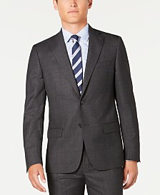 DKNY Men's Modern-Fit Stretch Charcoal/Navy Windowpane Suit Separate Jacket