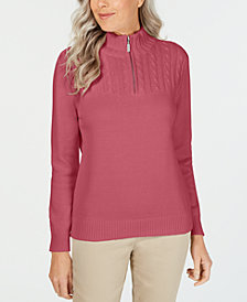 Karen Scott Cotton Zip-Neck Sweater, Created for Macy's