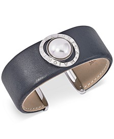 Stainless Steel Imitation Pearl Leather Cuff Bracelet