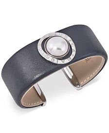 Majorica Stainless Steel Imitation Pearl Leather Cuff Bracelet