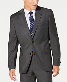 Men's Slim-Fit Performance Stretch Gray Mini Check Suit Separate Jacket, Created for Macy's