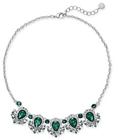 "Crystal & Green Stone Statement Necklace, 17"" + 2"" extender, Created for Macy's"