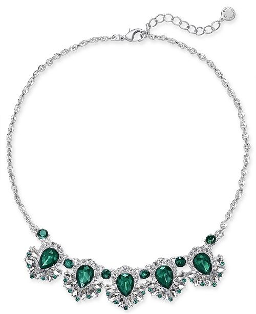 "Charter Club Crystal & Green Stone Statement Necklace, 17"" + 2"" extender, Created for Macy's"