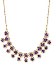 """Charter Club Pavé & Stone Halo Statement Necklace, 17""""+ 2"""" extender, Created for Macy's"""