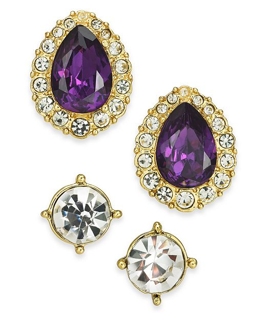 Charter Club 2-Pc. Set Crystal & Stone Stud Earrings, Created for Macy's