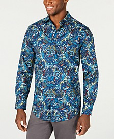 Men's Stretch Florales Paisley Print Shirt, Created for Macy's