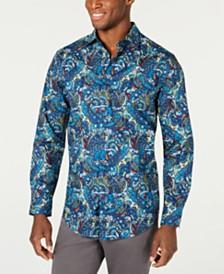 Tasso Elba Men's Florales Paisley Print Shirt, Created for Macy's