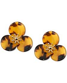 Gold-Tone Tortoise-Look Lotus Stud Earrings