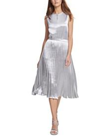 DKNY Metallic Pleated Midi Skirt