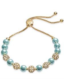 Pavé & Imitation Pearl Slider Bracelet, Created for Macy's