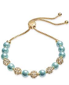 Charter Club Pavé & Imitation Pearl Slider Bracelet, Created for Macy's