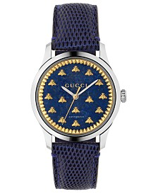 Gucci Unisex Swiss Automatic G-Timeless Blue Lizard Leather Strap Watch 38mm