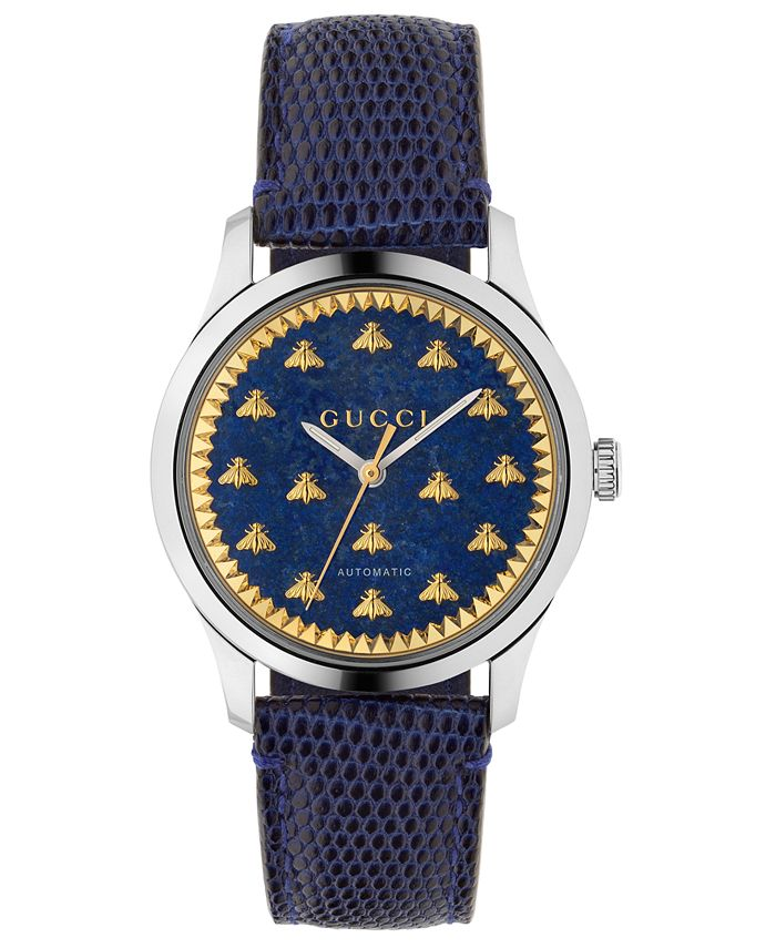 Gucci - Unisex Swiss Automatic G-Timeless Blue Lizard Leather Strap Watch 38mm