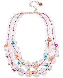 "Betsey Johnson Rose Gold-Tone Crystal Flower Beaded Double-Strand Necklace, 17"" + 3"" extender"