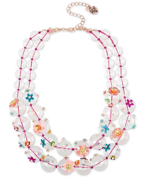 """Betsey Johnson Rose Gold-Tone Crystal Flower Beaded Double-Strand Necklace, 17"""" + 3"""" extender"""