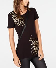 I.N.C. Embellished Animal-Print T-Shirt, Created for Macy's