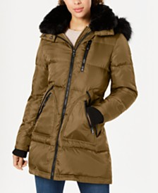 Vince Camuto Faux-Fur-Trim Down Puffer Coat