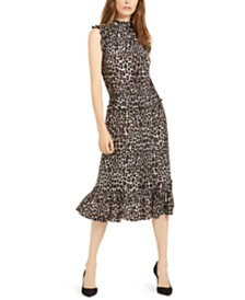 Michael Michael Kors Cheetah-Print Smocked Ruffled A-Line Dress