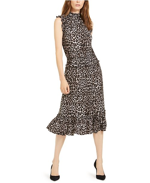 Michael Kors Cheetah-Print Smocked Ruffled A-Line Dress
