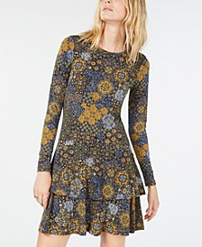 Medallion-Print Ruffled Dress