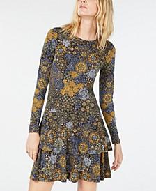 Medallion-Print Ruffled Dress