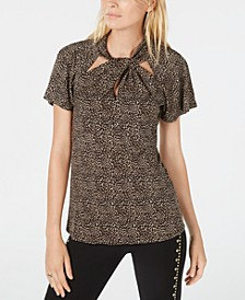 Twisted-Neck Printed Flutter-Sleeve Top