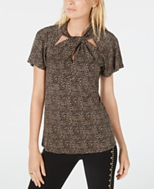 Michael Michael Kors Twisted-Neck Printed Flutter-Sleeve Top