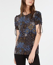 Michael Michael Kors Ruched-Sleeve Floral-Print Top, Regular & Petite Sizes