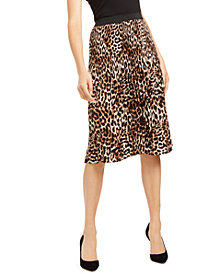 INC Printed Leopard Midi Skirt, Created for Macy's