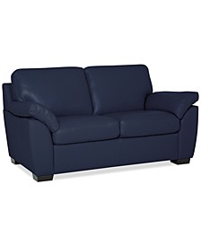 """Lothan 64"""" Leather Loveseat, Created for Macy's"""