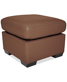 """Lothan 24"""" Leather Ottoman, Created for Macy's"""