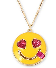 "Betsey Johnson Gold-Tone Crystal Smile Emoji Pendant Necklace, 16"" + 3"" extender"